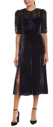 Rebecca Taylor Velour Silk-Blend Midi Dress