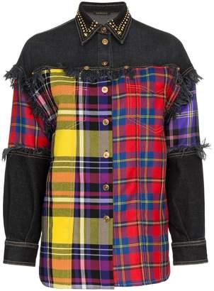 Versace plaid and denim wool button down shirt