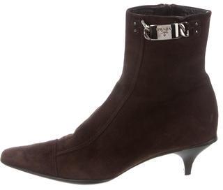 pradaPrada Suede Pointed-Toe Boots