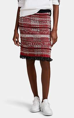 Thom Browne Women's Checked Tweed Pencil Skirt - Red