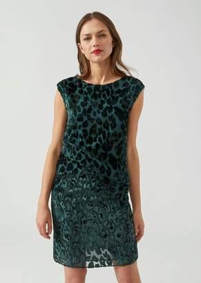 Emporio Armani Draped Sheath Dress In Animal Print Flocked Fabric