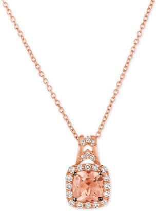 LeVian Le Vian Chocolatier Peach Morganite (5/8 ct. t.w.) & Diamond (1/4 ct. t.w.) Pendant Necklace in 14k Rose Gold
