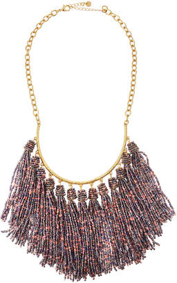 Lydell NYC Seed Bead Tassel Multi-Drop Necklace