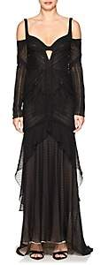 J. Mendel WOMEN'S RUCHED SILK LACE HIGH-LOW GOWN