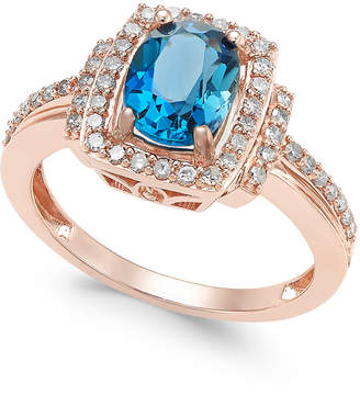 Macy's Blue Topaz (1-1/3 ct. t.w.) & Diamond (1/3 ct. t.w.) Ring in 14k Rose Gold (Also available in Rhodolite Garnet)
