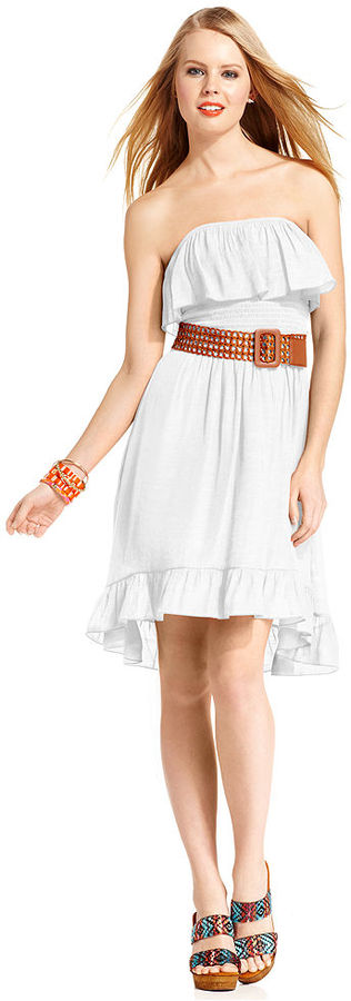 Amy Byer Juniors Dress, Strapless Ruffled Belted High-Low