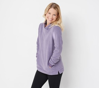 Denim & Co. Petite Chenille Fleece Tunic with Crossover Neckline