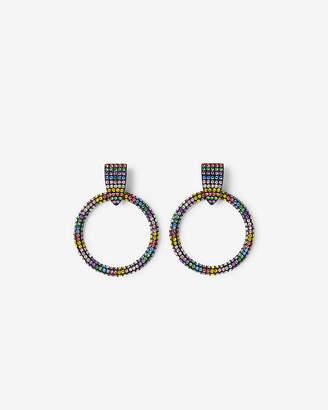 Express Rainbow Stud Circle Drop Earrings