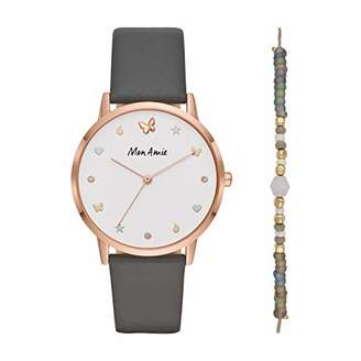 Mon Amie Women's 'Supports Opportunity' Quartz Metal and Leather Casual Watch