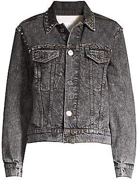 Sandro Women's Ambre Acid Wash Denim Jacket