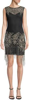 Aidan Mattox Beaded Fringe Sleeveless Dress