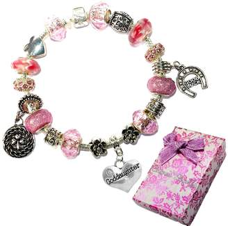 Pandora Charm Buddy Goddaughter Pink Purple Crystal Good Luck Style Bracelet With Charms Gift Box