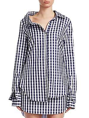 Monse Women's Gingham Double Collar Shirt
