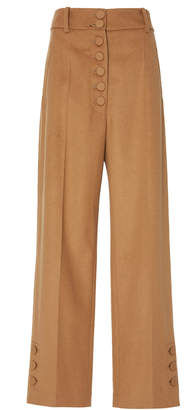 Joseph Young High-Rise Wool and Cashmere-Blend Wide Leg Pants