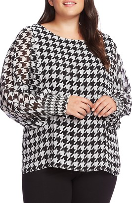 Vince Camuto Houndstooth Chiffon Blouse