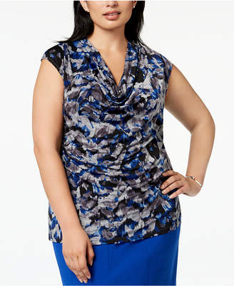 Kasper Plus Size Cowl-Neck Top