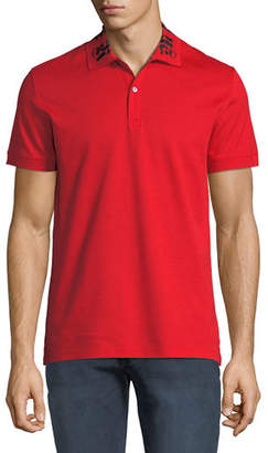 Alexander McQueen Men's Short-Sleeve Cotton Polo Shirt w/ Signature on Collar