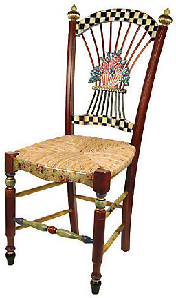 Mackenzie Childs MacKenzie-Childs Dark Flower Basket Side Chair