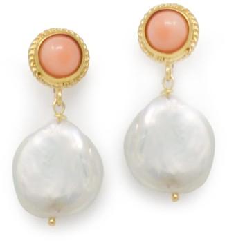 Vintouch Italy Pink Coral & Keshi Pearl Earrings