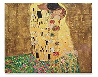 Gustav Klimt Paintings Canvas Print The Kiss By Klimt New Year/Christmas Decor Home Decorative Canvas Prints- 20x16 Inch(One Side)