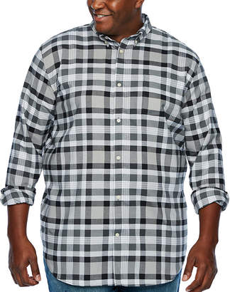Co THE FOUNDRY SUPPLY The Foundry Big & Tall Supply Mens Long Sleeve Plaid Button-Front Shirt Big and Tall