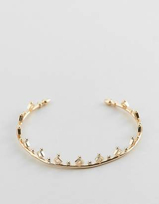 Asos DESIGN cuff bracelet with ball and diamond detail in gold