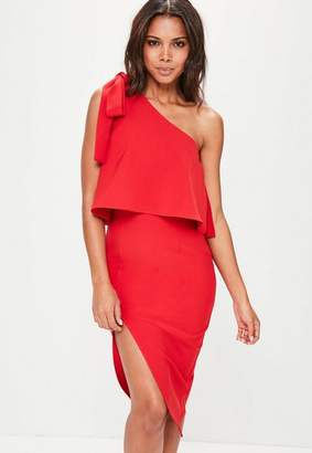 Missguided Red Crepe One Shoulder Bow Sleeve Midi Dress