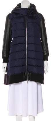 Moncler Vegan Leather-Trimmed Down Coat