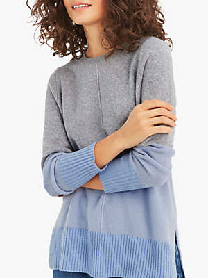 Sally Colour Block Jumper, Grey/Blue