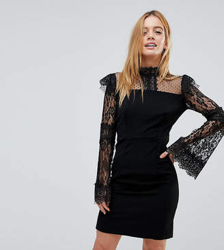 boohoo Petite Lace And Crochet Detail Bodycon Dress
