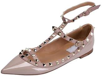 Chris-T Chirs-T Women's Rivets Studs Buckle Straps Shoes Pointed Toe Sandal Flats