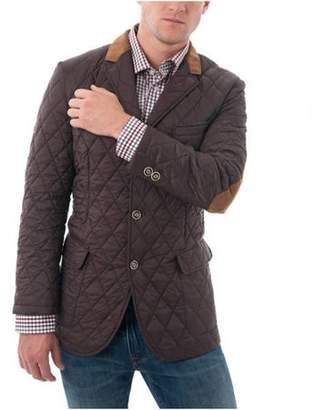 Verno Men's Brown Quilted Notched Lapel Sports Coat