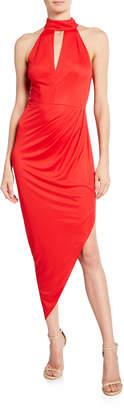 Milly Jana Keyhole Halter Dress w/ Asymmetric Shirred Skirt