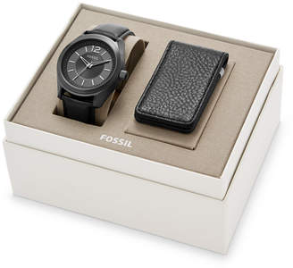Fossil Editor Three-Hand Black Leather Watch And Wallet Box Set
