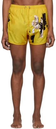 Neil Barrett Yellow Flowers Swim Shorts