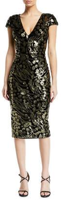 Dress the Population Allison Abstract Floral & Velvet Dress