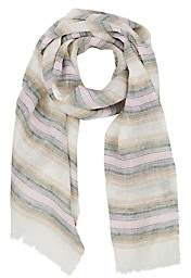 Bigi BIGI MEN'S STRIPED LINEN GAUZE SCARF - GREEN