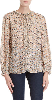 Max Studio Floral Print Long Sleeve Blouse