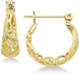 Essentials Filigree Small Hoop Earrings in Gold Plate