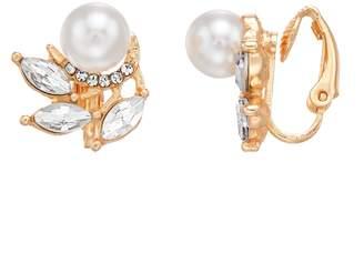 Lauren Conrad Simulated Pearl & Crystal Nickel Free Cluster Clip On Earrings