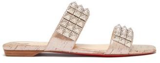 Christian Louboutin Myriadiam Embellished Double Strap Slides - Womens - Silver