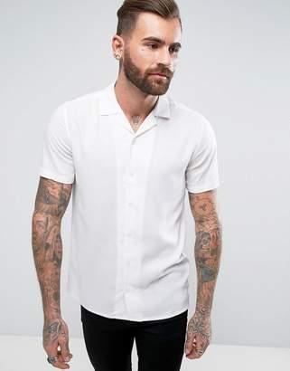 Asos DESIGN regular fit viscose shirt with revere collar in white