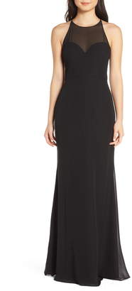 Paige Hayley Occasions Sheer Racerback Chiffon Evening Dress
