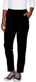 Denim & Co. Active Petite French Terry Slim LegPant w/ Zipper