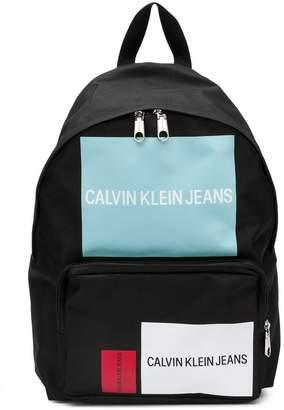 CK Calvin Klein logo blocks backpack