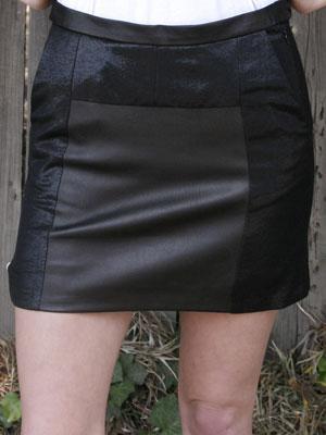RAG & BONE black pleated mini leather skirt