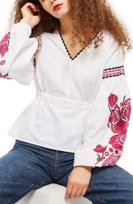 Topshop Pink Embroidered Sleeve Smock Top