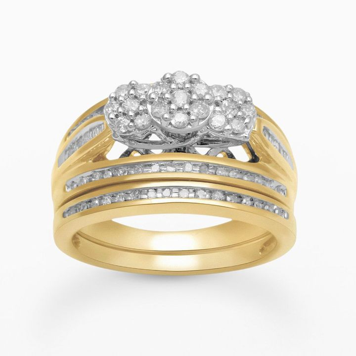 Round-cut diamond engagement ring set in 18k gold over silver (1/2 ct. t.w.)