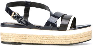 Lanvin crossover strap wedge sandals