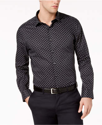Bar III Men's Slim-Fit Stretch Easy-Care Tossed Daisy Print Dress Shirt